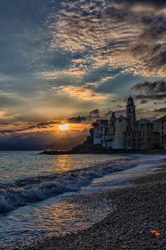 Castle on the Beach at sunset, or sunrise, Camogli, province of Genoa Liguria, Italy Places Around The World, Oh The Places You'll Go, Places To Travel, Places To Visit, Around The Worlds, Beautiful World, Beautiful Places, Beautiful Sunset, Voyage Europe