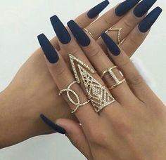 #fashion #style #nails #nailpolish #girl #love #glam #blue #rings