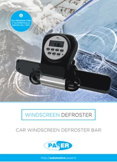 WINDSCREEN DEFROSTER remedies to the problem of the frozen windscreen. The device consists of a perforated bar, able to issue hot air which melts the frost layer product during the winter on glass. It works in PROGRAMMED SWITCHING and is automatically activated. By a digital timer you can program the switching on/off time. It must be connected to a 12V/10A socket. The simple clamp plugging on the sun visor panel allow a high standard integration. Compatibility is extended to all vehicles.