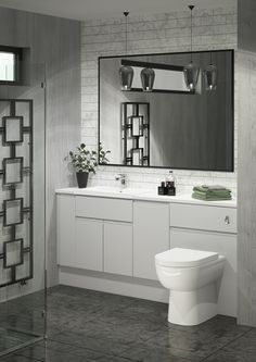 Grip Pearl Grey is the perfect door style for a modern, sleek bathroom. Its minimalist look will create a simply stunning run of fitted furniture. Pair with a Breeze basin to complete the look. Fitted Bathroom Furniture, Small Bathroom Interior, Simple Bathroom, Bathroom Layout, Bathroom Ideas, Minimalist Small Bathrooms, Bathroom Remodelling, Lifestyle Club, Pearl Grey