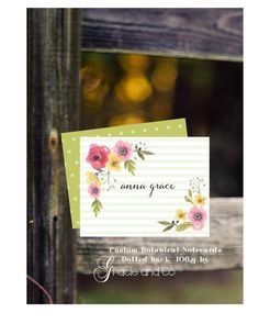 Custom personalized  notecard friendship birthday gift personalized stationery botanical print graduation bridesmaid gifts hostess gift by gracieandco on Etsy