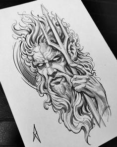 Zeus Tattoo, Poseidon Tattoo, Poseidon Drawing, Hades Tattoo, Trident Tattoo, Norse Tattoo, Viking Tattoos, Armor Tattoo, Warrior Tattoos