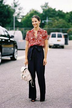 Maria Duenas Jacobs, before Alexander Wang, NYC, September 2014.     Self-tie.     Recreate her look (kind of):     Self-tie pants: Isab...