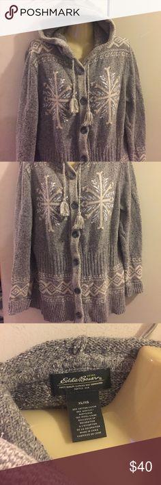 Eddie Bauer warm sweater Eddie Bauer size xl super warm heavy sweater. 55% cotton, 35% acrylic, 10% wool. Drawstring hood with button up the front. Eddie Bauer Sweaters Cardigans