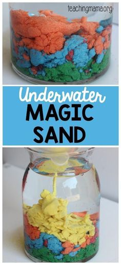 Underwater Magic Sand - this is such a cool science experiment! Kids will love it! Science Crafts, Mad Science, Science Experiments Kids, Kid Science Projects, Chemistry Projects, Preschool Projects, Summer Science, Borax Experiments, Slime Science Fair Project