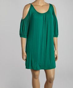 Love this Green Pleated Cutout Shift Dress - Plus by Poliana Plus on #zulily! #zulilyfinds