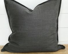 Cushion Cover - Charcoal Washed European Linen with Flange Colourful Cushions, Grey Cushions, Bench Seat Covers, Plastic Planter, Handmade Cushions, How To Look Classy, Plant Decor, Cushion Covers, Printing On Fabric