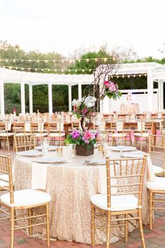 Love the mixed use of tables, some round, and some family style. Plus who doesn't love a sparkly chanmagne table cloth!  A Chic Plum & Champagne Wedding