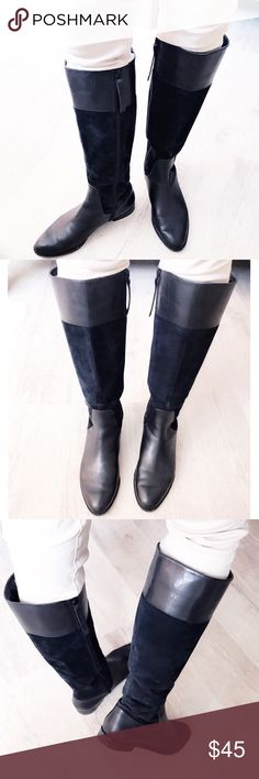 """CK riding boots Brand: Calvin Klein✔️ size 7. The """"ROWAN"""" riding boot! Very sleek, modern style boot! Calvin Klein engraved zipper, suede shaft, almond toe. 1'inch heel, 15 1/2'L, 15'w boot open. My pre owned CK❤️minimal bottom sole wear, tiny scuff on back left boot, white scuff mark on left front boot (side sole) inside leather has wear seen in photos. Offers welcome no trades thank you Calvin Klein Shoes Over the Knee Boots"""