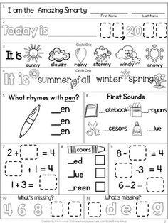 Writing Center Kindergarten, Kindergarten Calendar, Kindergarten Morning Work, First Grade Worksheets, Kindergarten Worksheets, Digraphs Worksheets, Sight Word Worksheets, Printable Worksheets, Teaching First Grade
