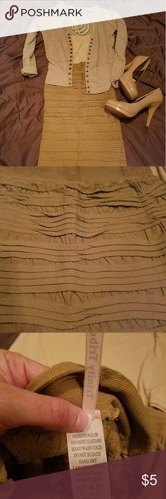 Women's light brown body con midi skirt Light weight, ruffle textured tan skirt Trinity Tribe Skirts Midi