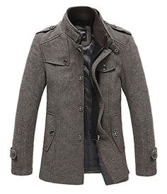 Wantdo Mens Wool Blend Pea Coat ** Click on the image for additional details.