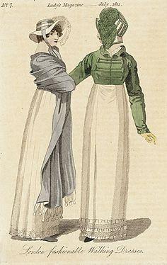 London Fashionable Walking Dresses, July, 1812, Lady's Magazine.