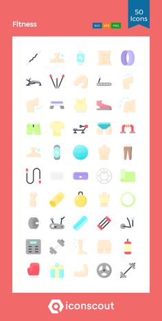 Fitness  Icon Pack - 50 Flat Icons Fitness Icon, Flat Icons, Png Icons, Icon Pack, Icon Font, Fonts, Packing, Gym, Designer Fonts