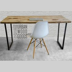 Modern wood Desk with reclaimed wood top in choice of sizes or finishes