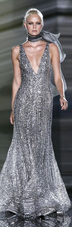 Elie Saab ~ Couture Silver Metallic Deep V Neckline Gown Couture Fashion, Runway Fashion, High Fashion, Elie Saab Couture, Sexy Women, Designer Gowns, Beautiful Gowns, Dress To Impress, Evening Dresses