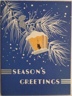40s Unused Art Deco Lantern- Vintage Christmas Greeting Card
