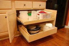 Center Stile Removal and Pull Out Shelves traditional cabinet and drawer organizers
