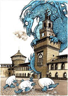 """"""" Le retour des dragons au Chateau de Milan """" ( 50X70 )... Année 2014"""