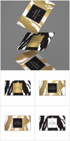 The abstract brushstrokes design suite by 1201AM comes in three color variations: black, gold and copper. Each design includes a painterly splash of inky brushstrokes in the background while your name or business name stays polished and presentable on the modern nameplate. Personalize on business cards, office stationery, marketing materials and more for a unified brand identity.