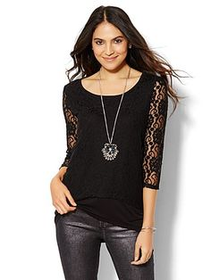 Stitch fix stylist: love the lace detail and how this is a tad edgy, and can be dressed up or down.