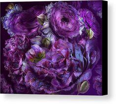 Peonies In Purples canvas print featuring the art of Carol Cavalaris.
