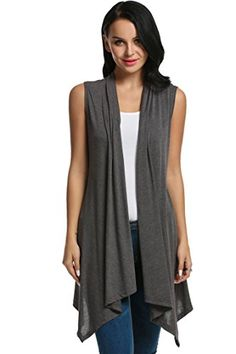 Meaneor Womens Solid Color Sleeveless Asymetric Hem Open Front Sweater Cardigan Dark Gray XL ** You can find out more details at the link of the image.