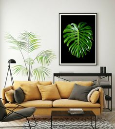 Monstera Leaf Printable Photography ~ Downloadable Botanical Wall Art ~ Dark & Moody Nature Print ~ Instant Living Room Decor ~ Still Life Map Wall Art, Framed Wall Art, Wall Art Prints, Poster Wall, Framed Prints, Fine Art Prints, Black And White Wall Art, White Walls, Bauhaus