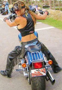 Biker chick with chaps