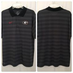 172p Nike Dri Fit NCAA Georgia Bulldogs Gray Black Stripe Golf Polo Shirt L Top #Nike #GeorgiaBulldogs
