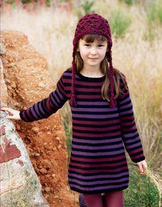 Heft Kinder 59 Herbst / Winter | 5: Kinder Kleid | Schwarz / Bordeauxviolett / Violett