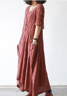 Gray/Red Women Dress Linen Dress Autumn Dress by fashiondress6, $78.50