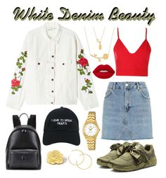 """""""White Denim Beauty - Thorny Beast"""" by rita8100 ❤ liked on Polyvore featuring Off-White, Topshop, Boohoo, Puma, Balenciaga, Nasaseasons, Disney, Lime Crime, Casio and PINTRILL"""