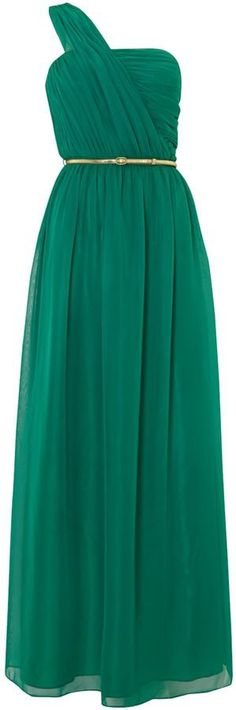 Pin for Later: Beautiful Bridesmaid Dresses That Won't Break the Bank  Untold maxi one shoulder dress in pleated chiffon (£43, originally £145)