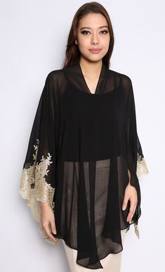 Kimono Kebaya Top with Lace in Black and Gold Kebaya Lace, Kebaya Dress, Batik Kebaya, Batik Dress, Eid Dresses, Evening Dresses, Lace Dresses, Kimono Fashion, Hijab Fashion