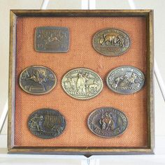 Framed Heston Rodeo Buckles. Would be perfect in a rustic, cowboy, or horse themed boy's room