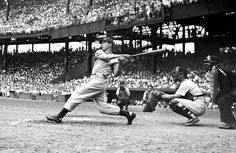 <p>Yankee great Joe DiMaggio takes a hack against the Washington Senators during his 1941 AL MVP season. He hit .357 with 30 home runs and 125 RBI during the year.</p>