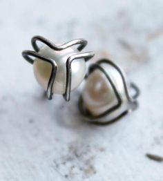 Oxidized Silver & Pearl Earrings by Moira K. Lime Jewelry on Scoutmob Shoppe