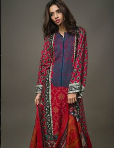 Gul Ahmed Red Pakistani Woolen  Lawn Suit With Pashmina Shawl P60