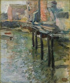 In John Twachtman, one of the most imaginative of the American Impressionists, established a summer colony at Cos Cob, Connecticut. This painting depicts the Holley Mill near Cos Cob. Banks, Cos Cob, Impressionist Landscape, Impressionist Paintings, Oil Paintings, American Impressionism, Poster Prints, Framed Prints, Cleveland Museum Of Art