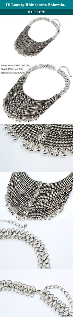 TS Luxury Rhinestone Bohemia Multilayer Mesh Chain Statement Necklace. Looking for a vintage jewelry? It's hard to beat our high quality Necklace! 100% brand new with Retro design .They are perfect for any occassion:Anniversary,Valentine`s day,Wedding,Party,Banquet and etc. These necklaces would be nice gift for any purposes¨¤?p??.