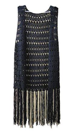 Tinacrochetstudio® Black Crochet Long Fringed Hem Vest Top tinacrochetstudio http://www.amazon.com/dp/B018B9FQCS/ref=cm_sw_r_pi_dp_6r6Jwb1M63G7K