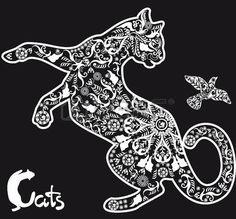 animal: stylized drawing cat on black background Illustration