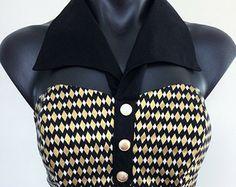 vintage high waisted harlequin | 1950s Vintage Style Collared Halter top in Black & Gold Harlequin ...