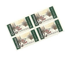 Christmas Stamps Six Cent Snowy Scene Vintage US by ArianneRoxa