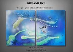 Art,Painting,Dreamlike,Blue,Aqua marine,Night dream,Wall art,Modern,Abstract,Underwater,Gift,Ocean,Sky,Color,Fantasy,Light,Room decorPeace,