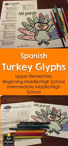 Spanish Turkey Glyphs - Read and Draw activities en español - By Sol Azúcar