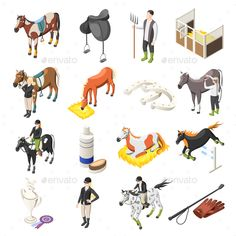 Buy Horse Riding Isometric Icons Set by macrovector on GraphicRiver. Horse riding isometric set of horses riders jockey accessories and stable staff isolated icons vector illustration Horse Template, Horse Stables, Portrait Illustration, Horse Riding, Designs To Draw, Icon Set, Les Oeuvres, Mammals, Equestrian