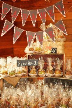 apple wedding decorations | Carmel apple favors. Country fall wedding | wedding ideas
