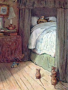 """pagewoman:  """" Louisa Pussy-cat sleeps late  from The Fairy Caravan by Beatrix Potter (1866-1943)  """""""